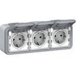 Enchufe 3x2P+T monobloc gris Legrand Plexo 069703