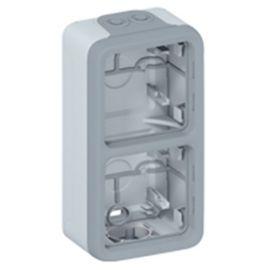 Caja de superficie 2 elementos vertical gris Legrand Plexo 069661