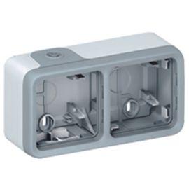 Cajas con conos 2 elementos horizontal gris Legrand Plexo 069672
