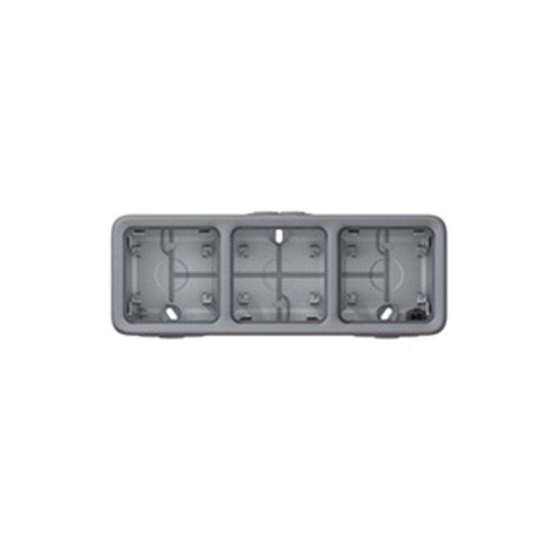 LEGRAND LEGRAND Cajas de superficie 3 elementos horizontal gris Legrand Plexo 069680