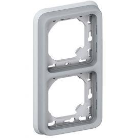 Marco de empotrar 2 elemento vertical gris Legrand Plexo 069685