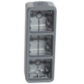 Caja superficie 3 elemento horizontal gris Legrand Plexo 069679