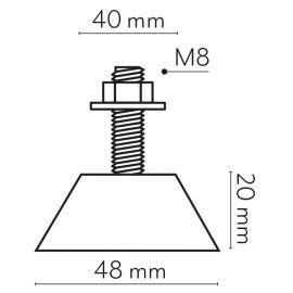 Accesorios Instalación A.A. VECAMCO Kit antivibración suelo (x4) 80Kg 48x20mm para aire acondicionado Vecamco 9898-025