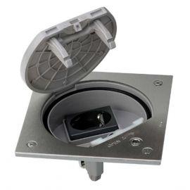 Caja Suelo Estanca Acero Inox Cierre Seguridad IP66 y con base electrica schuko Simon KSE1SEC/23/72