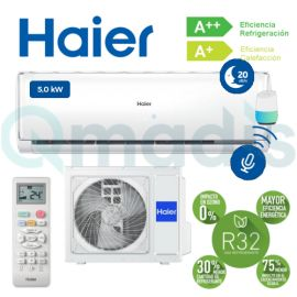 Aire acondicionado Haier GEOS+ GREEN AS-50 Split 1x1 Inverter Wifi de Serie