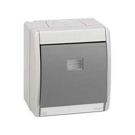 Pulsador 10AX estanco monoblock superficie gris Simon 44 Ref. 4490150-035