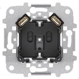 Base Schuko con doble cargador USB Niessen 8188.3