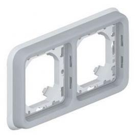 Marco de empotrar 2 elementos horizontal gris Legrand Plexo 069683