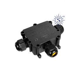 Caja conexión luminarias con 3 prensaestopas IP68 24A 450V Solera Black Series BK-3P