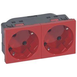 Toma enchufe 2x2P+T automática estándar alemán rojo Mosaic 077272