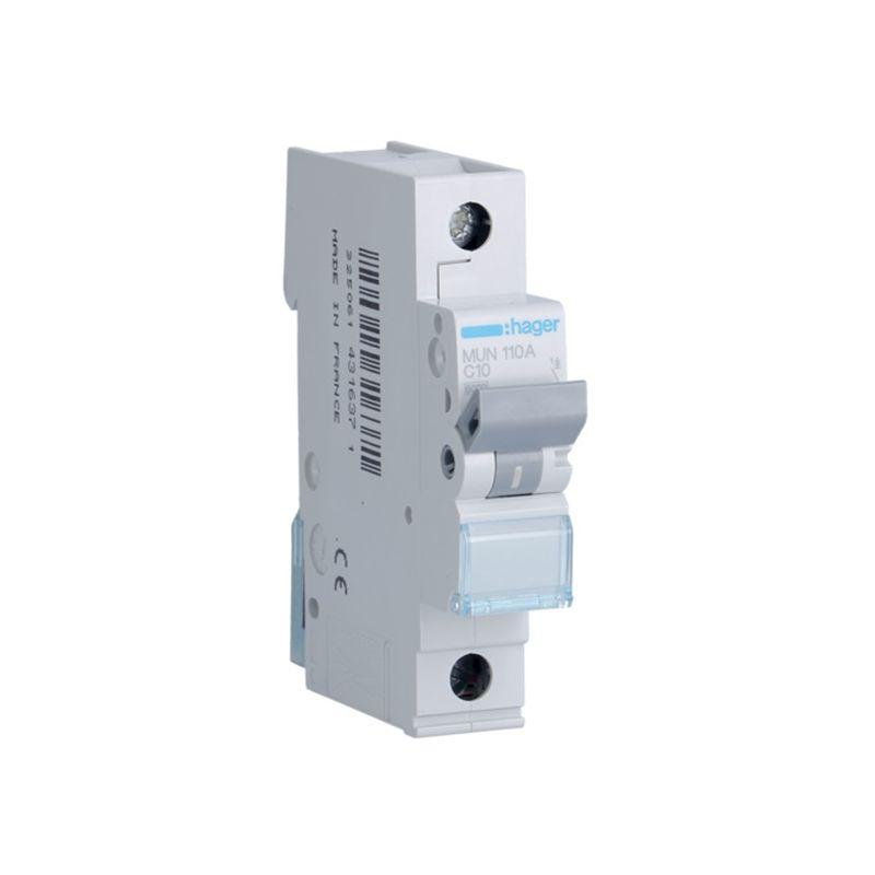 Interruptores automáticos gama residencial HAGER Interruptor Automático Magnetotérmico 1P 10A MU Hager MUN110A