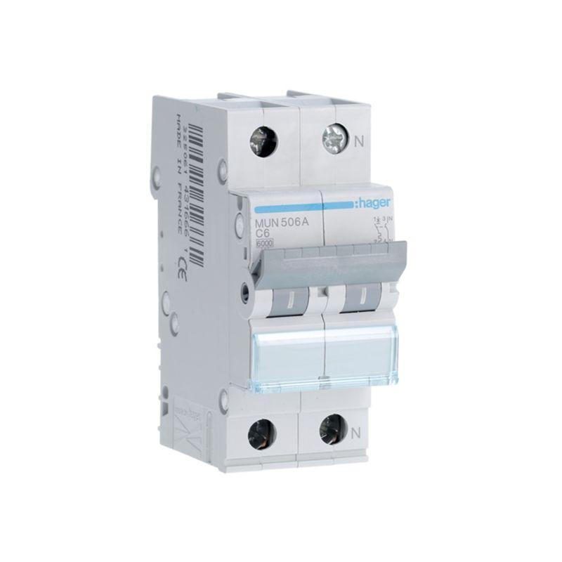 Interruptores automáticos gama residencial HAGER Interruptor Automático Magnetotérmico 1P+N 6A MU Hager MUN506A