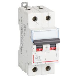 Interruptor Magnetotérmico 1P+N 63A DX3 6/10KA Curva C Legrand 407762
