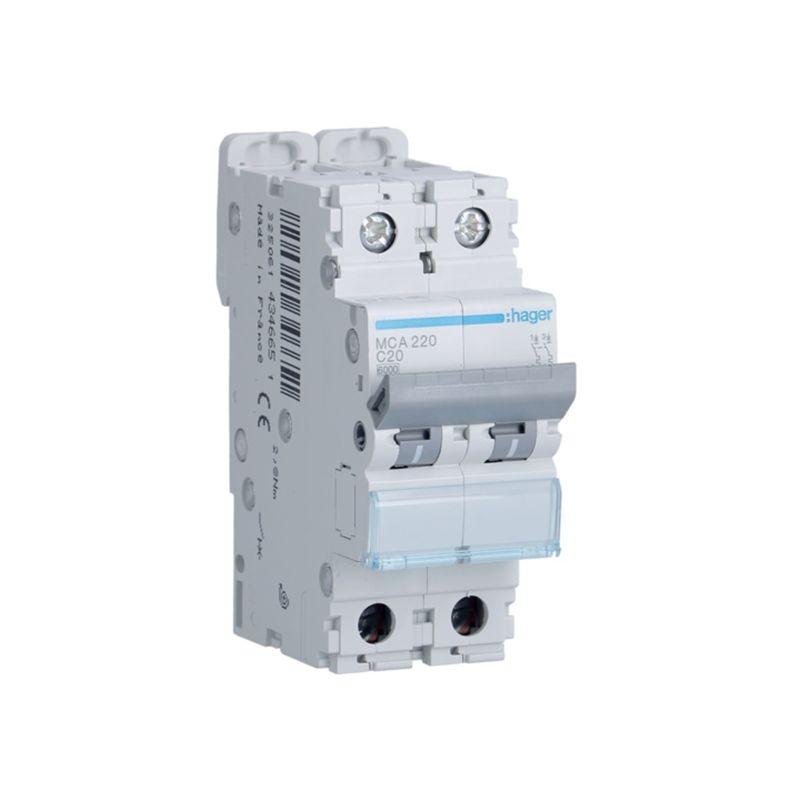 Interruptores automáticos gama terciario HAGER Interruptor Magnetotérmico 2P 20A 6/10KA Curva C Hager M MCA220