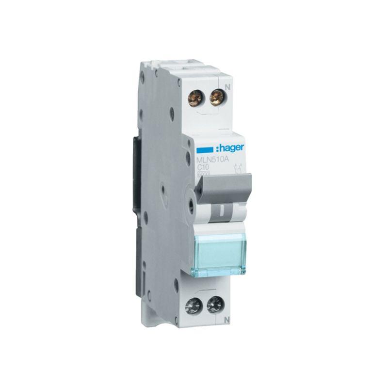 Interruptores automáticos gama terciario HAGER Interruptor Magnetotérmico de 1 módulo 1P+N 10A 6/10KA Curva C Accesoriable Hager MN MLN510A