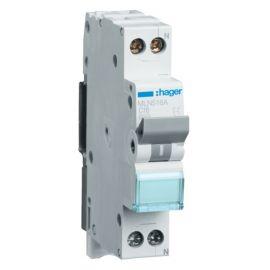 Interruptor Magnetotérmico de 1 módulo 1P+N 16A 6/10KA Curva C Accesoriable Hager MN MLN516A