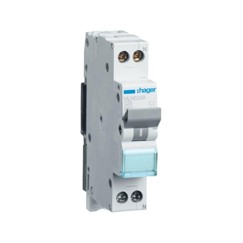 Interruptores automáticos gama terciario HAGER Interruptor Magnetotérmico de 1 módulo 1P+N 20A 6/10KA Curva C Accesoriable Hager MN MLN520A