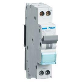 Interruptor Magnetotérmico de 1 módulo 1P+N 25A 6/10KA Curva C Accesoriable Hager MN MLN525A