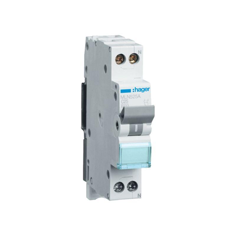 Interruptores automáticos gama terciario HAGER Interruptor Magnetotérmico de 1 módulo 1P+N 25A 6/10KA Curva C Accesoriable Hager MN MLN525A