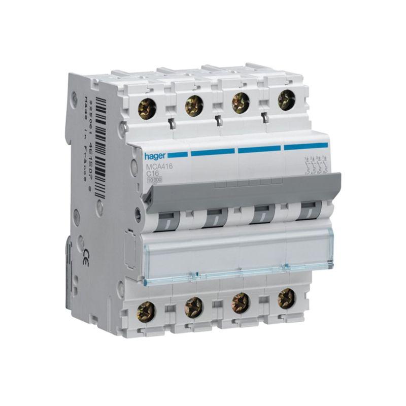 Interruptores automáticos gama terciario HAGER Interruptor Magnetotérmico 4P 16A 6/10KA Curva C Hager M MCA416