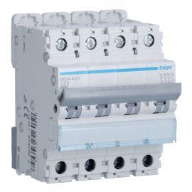 Interruptores automáticos gama terciario HAGER Interruptor Magnetotérmico 4P 20A 6/10KA Curva C Hager M MCA420