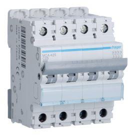 Interruptores automáticos gama terciario HAGER Interruptor Magnetotérmico 4P 25A 6/10KA Curva C Hager M MCA425