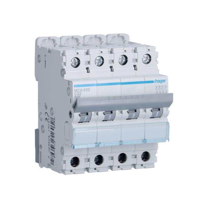 Interruptores automáticos gama terciario HAGER Interruptor Magnetotérmico 4P 32A 6/10KA Curva C Hager M MCA432