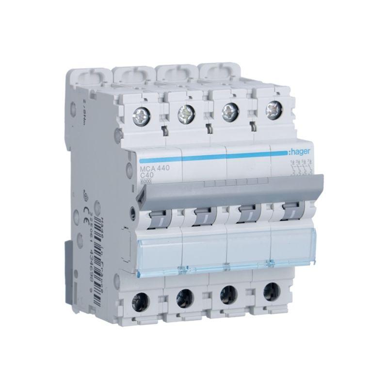 Interruptores automáticos gama terciario HAGER Interruptor Magnetotérmico 4P 40A 6/10KA Curva C Hager M MCA440