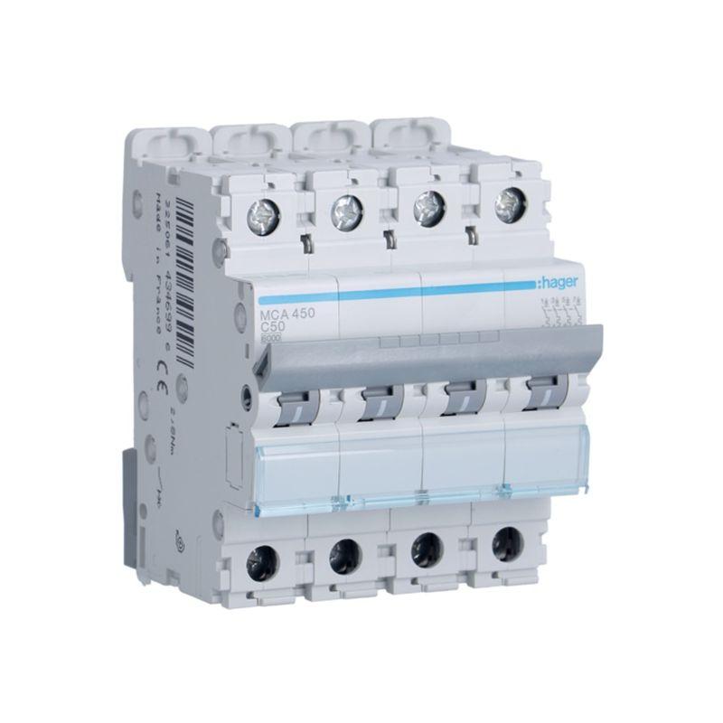 Interruptores automáticos gama terciario HAGER Interruptor Magnetotérmico 4P 50A 6/10KA Curva C Hager M MCA450