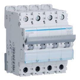 Interruptores automáticos gama terciario HAGER Interruptor Magnetotérmico 4P 63A 6/10KA Curva C Hager M MCA463