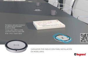 Cargador por Inducción para instalación en mobiliario de Legrand