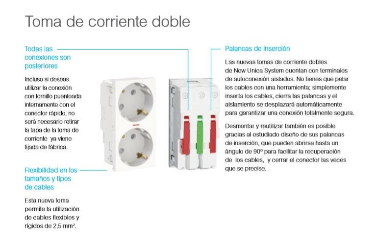 Mecanismos Toma de Corriente Doble de la linea de New Unica Schneider Electric en Qmadis