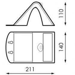 Medidas Aplique pared solar de exterior IP65 3,2W 840 400lm Negro de Prilux