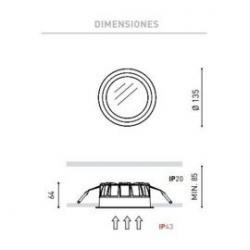 Detalle Empotrable Deep Mini 3 10W 3000K Blanco Arkoslight/60.31€