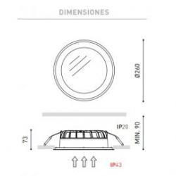 Detalle medidas Empotrable Drop 2 3000K blanco Arkoslight /99.73€