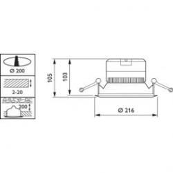 Detalle diámetro de corte  Downlight LED Philips DN140B 19W 3000K luz cálida D.216mm/61.60€
