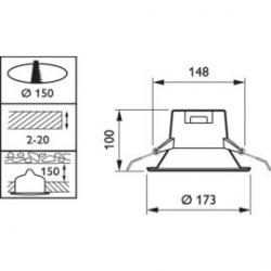 Detalle Diámetro de corte Philips Ledinaire Led Downlight Empotrar Blanco 9W 3000ºK /12.54€