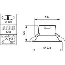 Detalle diámetro de corte  Philips Ledinaire Led Downlight Empotrar Blanco 9W 3000K
