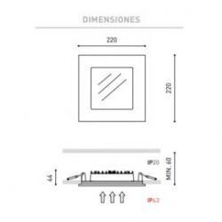 Detalle medidas Empotrable QUAD 2 4000K 15,5 W aluminio Arkoslight /76.54€