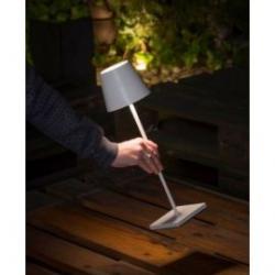 Lámpara led de sobremesa portátil Gopi blanca para exterior 2,2W