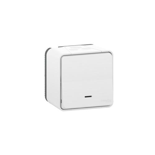 Pulsador blanco monobloc LED señalizacion Schneider Mureva Styl MUR40010