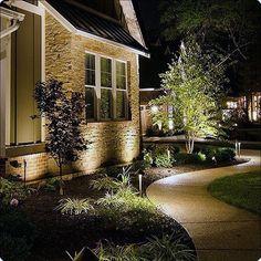 Iluminación con proyector Led para jardín