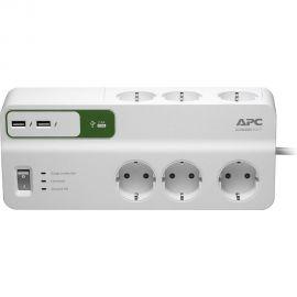 Regleta 6 enchufes + 2 USB protección sobretensiones