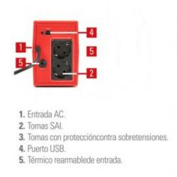 SAI Salicru SPS 500 VA SOHO+ doble cargador USB