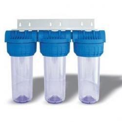 Filtro triplex porta cartuchos de 9 ¾'' Hidrowater