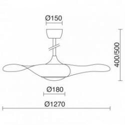 Ventilador con luz LED 18W modelo Cefiro de Exolighting