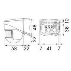 Medidas Detector de movimiento de pared 180º Luxomat /28.57€
