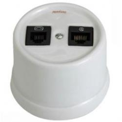 Toma Doble Telefono 6 vias RJ12 + Toma UPT Categoria 6 RJ45 Porcelana Blanco