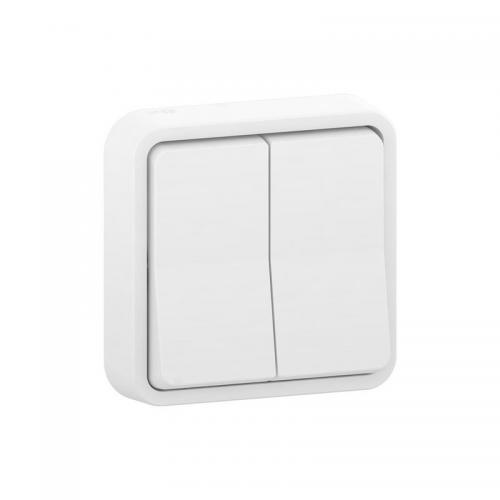 Doble conmutador blanco monobloc Schneider Mureva Styl MUR40001