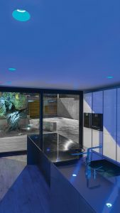 Iluminación con downlight LED de empotrar Lex Eco Blue de Arkoslight en Qmadis
